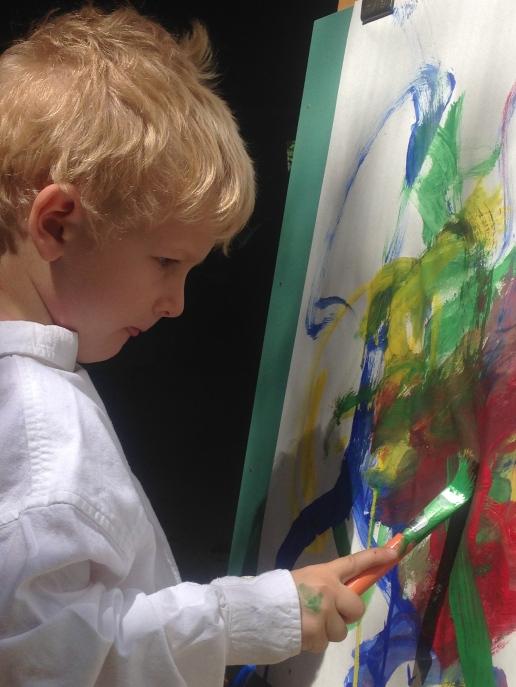Painting in Jerry's garage--annmariemershon.com, amershon@edublogs.org